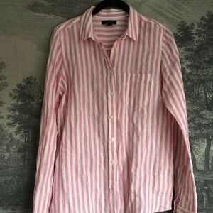 J. Crew Pink Linen Striped Tie Up Blouse 2 Tall